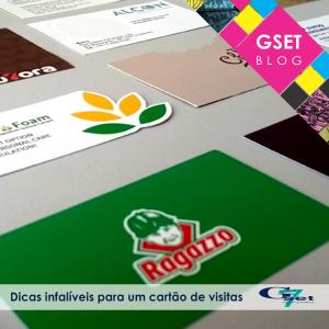 Diversos cartões produzidos pela Gset. A imagem contém o título do post: Dicas infalíveis para um cartão de visitas.