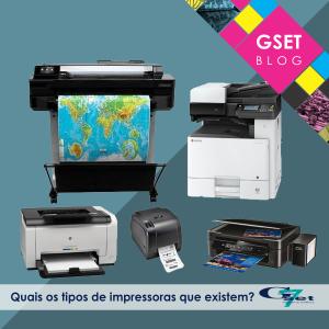 Quais os tipos de impressoras que existem? Imagem com impressoras diversas, como: Impressora à laser, plotter, multifuncional.